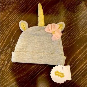 🦄Mud Pie Gray Unicorn hat 0-3 month🦄